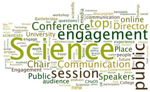 A Wordle of words in the Twitter Reportage of SCC2011. See text for description